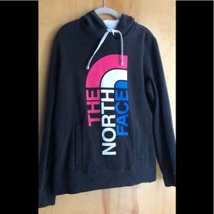 The North Face black hoodie with colorful logo L